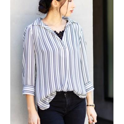 NARACAMICIE / バイカラーストライププリント七分袖スキッパーシャツ WOMEN トップス > シャツ/ブラウス