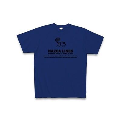 ナスカの地上絵:コンドル・サル・ハチドリ:ペルー Tシャツ(ロイヤルブルー)