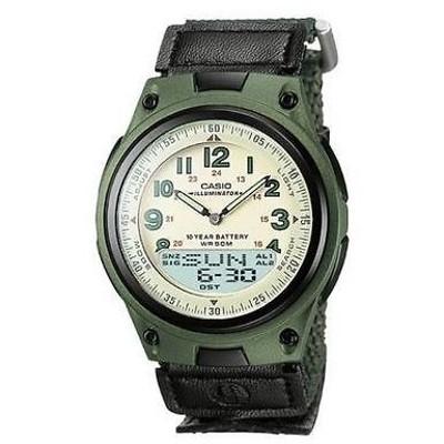 腕時計 カシオ Casio メンズ Combo Data Bank 腕時計 グリーン Velcro ストラップ 3 アラーム AW80V-3BV
