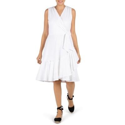 ロビービー レディース ワンピース トップス Eyelet Inset Sleeveless Knit Dress WHITE