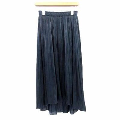 【中古】アナイ ANAYI 19SS スカート ロング プリーツ シースルー マキシ 38 ネイビー 紺  /☆G レディース