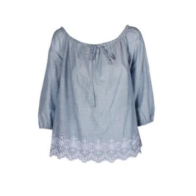 ユニセックス 衣類 トップス Nydj Light Blue Emboridred Hem Off Shoulder Blouse M ブラウス&シャツ