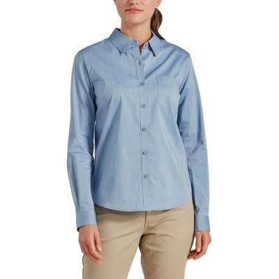 ディッキーズ シャツ トップス レディース Dickies Women's Stretch Poplin Long Sleeve Work Shirt Limoges/Opaque White