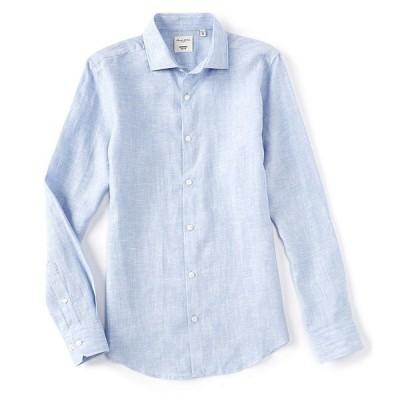 ムラノ メンズ シャツ トップス Slim-Fit Solid Baird McNutt Linen Long-Sleeve Woven Shirt Light Blue