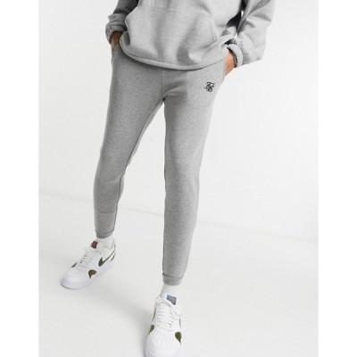 シックシルク メンズ カジュアルパンツ ボトムス SikSilk jacquard pants in gray plaid