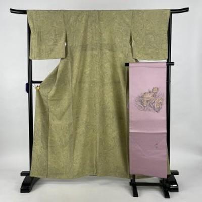小紋 美品 秀品 名古屋帯セット 墨流し 抹茶色 袷 身丈163cm 裄丈66.5cm M 正絹 中古