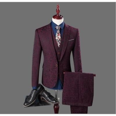 スーツ メンズ レギュラーフィット 1ツボタン 春夏 秋冬 ウォッシャブルスラックス ワンタック ワインレッド  無地 フォーマル オフィス OL