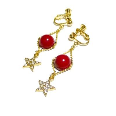 赤珊瑚と輝く星のイヤリング/ゴールドトーン