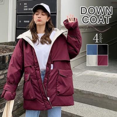 中綿コート 中綿ジャケット レディース アウター ファー コート 冬 秋 ゆったり 上品 高級感 新作 ロングコート 無地 暖かい 防風 防寒 可愛い 大人 フード付き