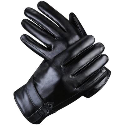 ARZER 手袋 メンズ 革 裏起毛 スマホ対応 紳士 冬 柔らか 肌触り良い (黒1)