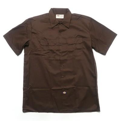 ディッキーズ ワークシャツ 半袖 ブラウン コンディション◎ サイズ表記:XL