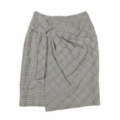 【中古】ジャスグリッティー JUSGLITTY 美品 グレンチェック タップ風 デザイン ハーフ スカート ひざ丈 1 グレー系