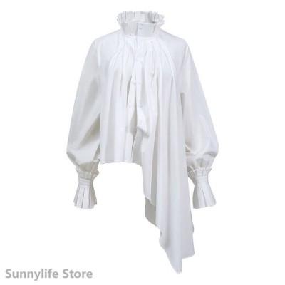 冬新作 レディースブラウス シャツ 長袖 スタンドカラー 変形 個性的 シンプルデザイン モード レトロ調 ホワイト ブラックフリーサイズ