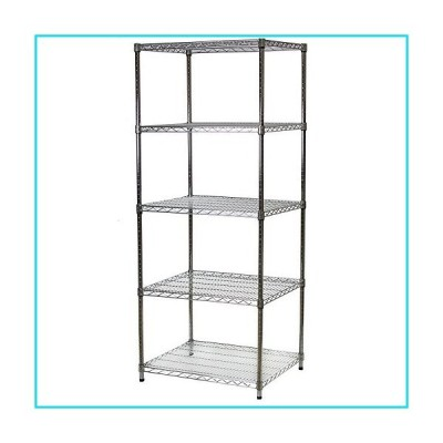 """24"""" d x 30"""" w x 72"""" h Chrome Wire Shelving with 5 Shelves【並行輸入品】"""