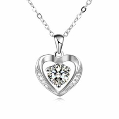 YAFEINI Sterling Silver Heart Necklace Cubic Zirconia Love Jewelry Gift for Mother of The Bride Gifts Mom Grandma Daughter Wife
