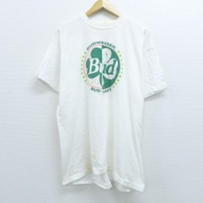 古着 半袖 ビンテージ Tシャツ 90年代 90s バドワイザー ビール コットン クルーネック 白 ホワイト XLサイズ 中古 メンズ Tシャツ 古着