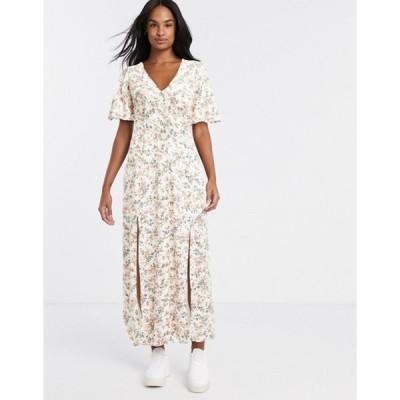 ミスセルフフリッジ レディース ワンピース トップス Miss Selfridge angel sleeve maxi dress in peach