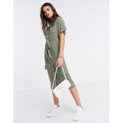 エイソス レディース ワンピース トップス ASOS DESIGN utility midi shirt dress with drawstring waist in khaki Khaki