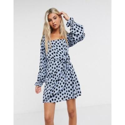 アンドアザーストーリーズ レディース ワンピース トップス & Other Stories long sleeve mini dress in blue and black polka dots