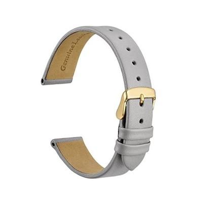 [WOCCI] 本革時計バンド 10mm カーフレザー 腕時計交換ベルト グレー ゴールドバックル