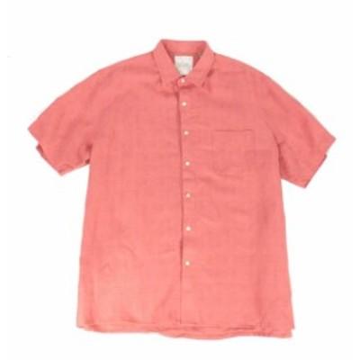 Pocket  ファッション アウター Tasso Elba Mens Shirt Red Size 3XL Textured Front Pocket Button Up Silk