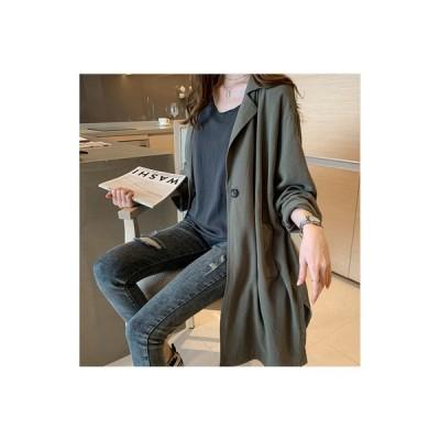 スプリングコート レディース ロングコート アウター ダスターコート 春コート 長袖 ゆったり カジュアル 無地 サイドスリット 羽織 薄手