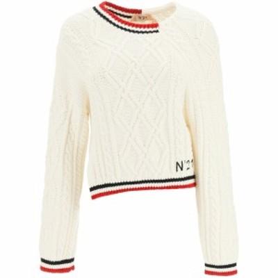 N.21/ヌメロ ヴェントゥーノ Mixed colours N.21 asymmetric sweater レディース 春夏2021 A008 7154 ik