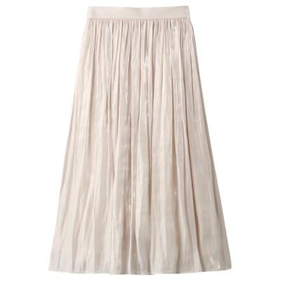 allureville アルアバイル プラチナ割繊サテンギャザースカート レディース ホワイト 2
