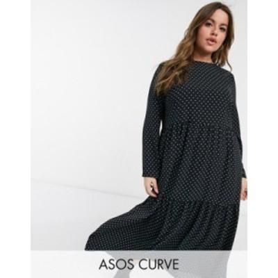エイソス レディース ワンピース トップス ASOS DESIGN Curve long sleeve tiered smock midi dress in mono micro- dot Mono polka dot