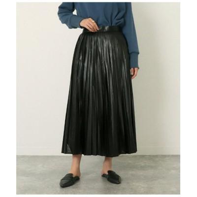 【アウリィ】 エコレザープリーツスカート レディース ブラック F AULI