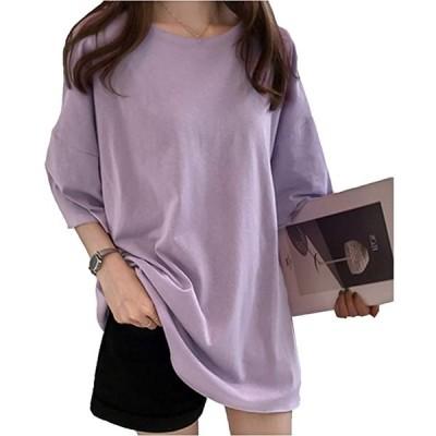 ビーコ ゆったりTシャツ 半袖 かわいい レディース ラベンダー-XL(ラベンダー, XL)