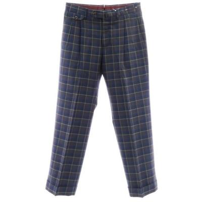 ピーティーゼロウーノ PT01 チェック柄 ウール ツープリーツ スラックス パンツ ネイビー×ブラウン×グリーン 46