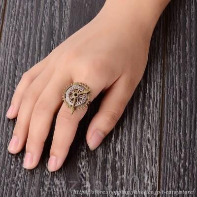 指輪リングレディーススチームパンク風ギア歯車時計レトロ調アンティーク風大ぶりおしゃれかっこいいかわいい女性用プレゼント