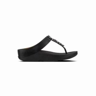 フィットフロップ サンダル・ミュール Fitflop Fino Bejewelled Toe Post (Black) BLACK
