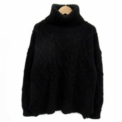【中古】アリュメール ニット セーター 長袖 タートルネック 無地 ローゲージ オーバーサイズ 1 ブラック レディース