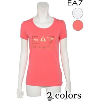 EA7 EMPORIO ARMANI イーエーセブン エンポリオ・アルマーニ レディース ビッグロゴ 半袖 Uネック Tシャツ カットソー 3ZTT82 TJ12Z 95CO 5EA
