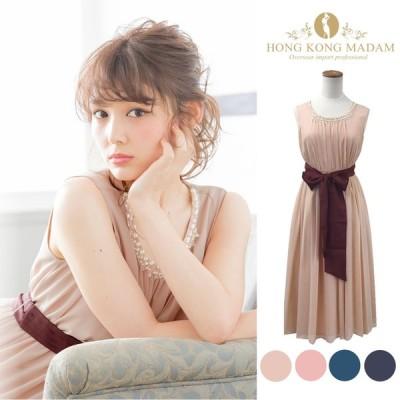 パーティードレス ワンピース ドレス 結婚式 M L LL 3L ベージュ ピンク グリーン ネイビー 大きいサイズ