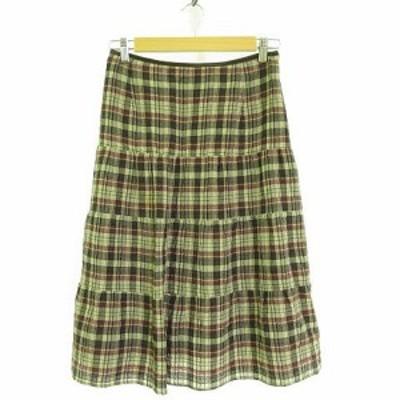 【中古】コルディア CORDIER スカート ひざ丈 チェック こげ茶 ベージュ 紫 42 *A915 レディース