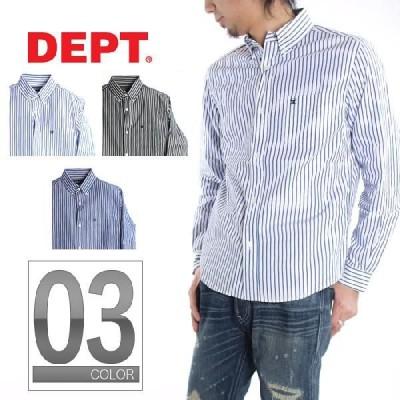 DEPT デプト STRIPE SKULL ボタンダウンシャツ 10021007 3色展開/ L/Sシャツ スカルL/S長袖シャツ柄ストライプ メンズ