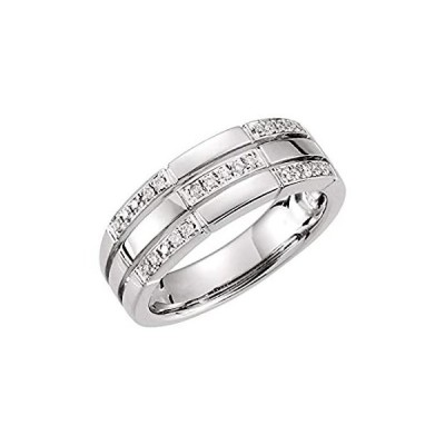 Solid Platinum 1/8 Cttw Diamond Ring Band - Size 4.5 (.13 Cttw)