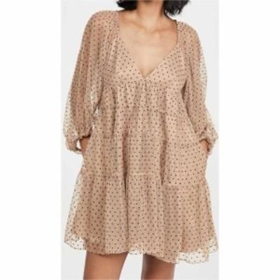 スタウド STAUD レディース ワンピース ミニ丈 ワンピース・ドレス Mini Meadow Dress Tan/Black Dot
