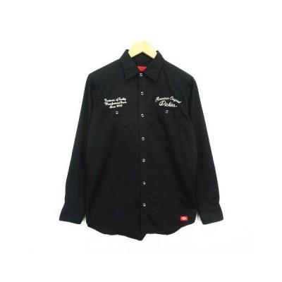 【中古】ディッキーズ Dickies シャツ 長袖 ロゴ 胸ポケット M ブラック ※EKM メンズ 【ベクトル 古着】