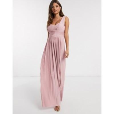 エイソス レディース ワンピース トップス ASOS DESIGN premium one shoulder pleated panel maxi dress in soft pink Soft pink