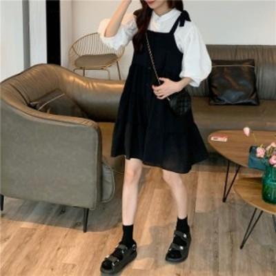 セットアップ 2点セット モノトーン ブラウス ジャンパースカート ティアード リボン 膝丈 ガーリー デート 韓国ファッション 大人可愛い