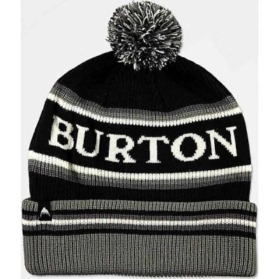 バートン BURTON レディース ニット ポンポン ビーニー 帽子 Burton Trope True Black Grey & White Pom Beanie Black
