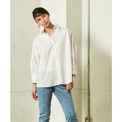 ミエット miette ワイドスリーブバックシャーリングシャツ (オフホワイト)