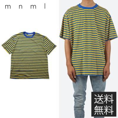 ミニマル mnml STRIPED ワイドシルエット ボーダー Tシャツ イエロー ブルー 半袖 黄 青 BOXY TEE Yellow Blue Border