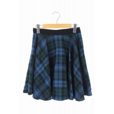 【中古】オニール オブ ダブリン O'NEIL OF DUBLIN ウールチェック柄フレアスカート ミニ I42 青 黒 緑