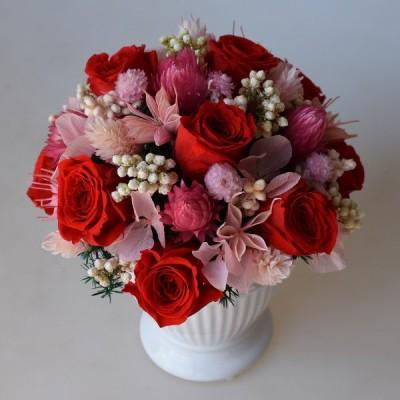 プリザーブドフラワーアレンジメント 赤いバラとピンクのお花 ギフト プレゼント 誕生日 開店祝 引越し祝 出産祝