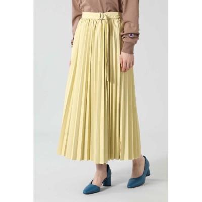 【ローズバッド】 フェイクレザープリーツスカート レディース イエロー - ROSE BUD